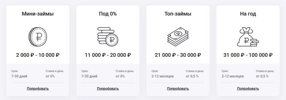 Выды займов «До зарплаты»