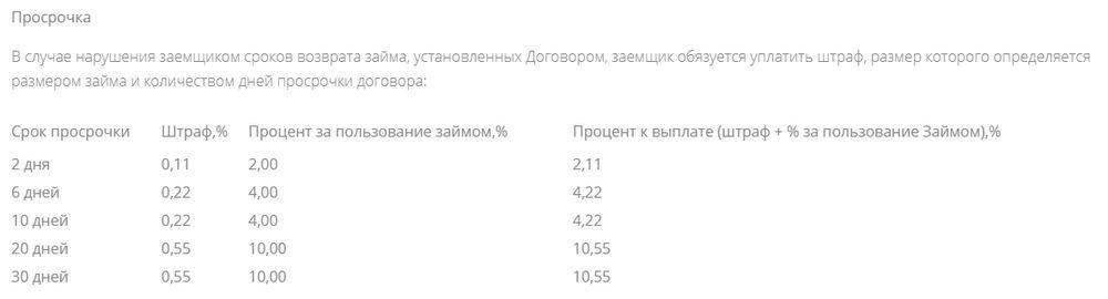Штрафные санкции при просрочке кредита