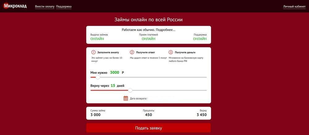 Быстрая онлайн заявка на займ Микроклад